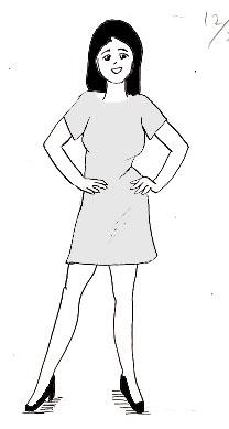女性立ちポーズイラスト、腰に手を当てている画像